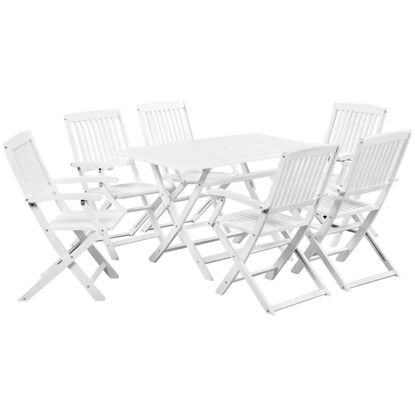 Picture of Outdoor Dining Set - Solid Acacia Wood - White