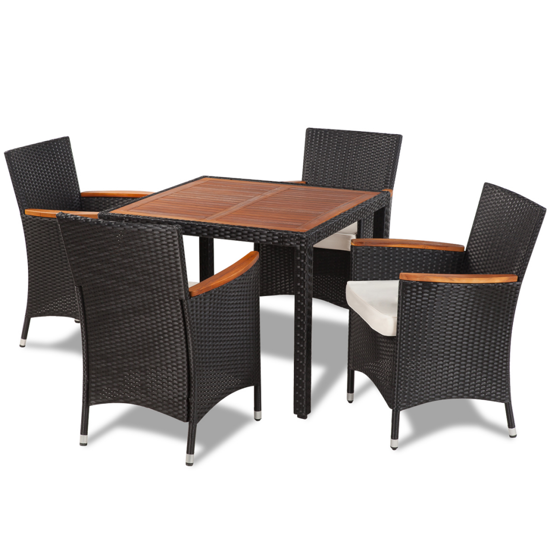 Picture of Outdoor Dining Set with 4 Chairs and Table with Wood Top Poly Rattan - Black