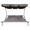 Picture of Outdoor Double Hammock Sunbed with Canopy and 2 Pillows - Brown