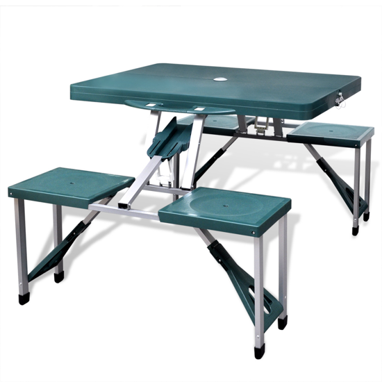 Picture of Outdoor Foldable Camping Table Set with 4 Stools Aluminum Extra Light - Green