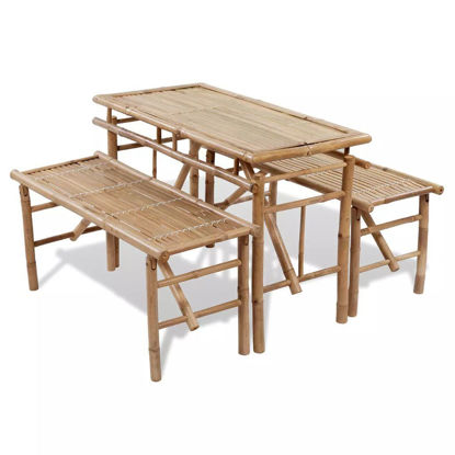 Picture of Outdoor Folding Picnic Table Set 3pc - Bamboo