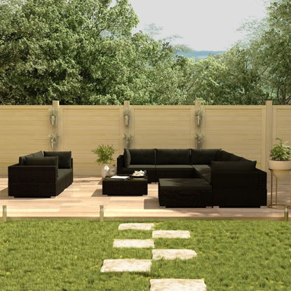 Picture of Outdoor Furniture Lounge Set PE Wicker Poly Rattan - Black 10 pcs