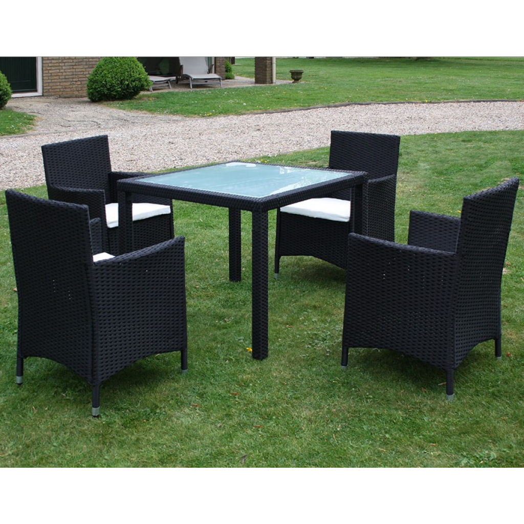Picture of Outdoor Furniture Set 1 Table with 4 Chairs Poly Rattan - Black