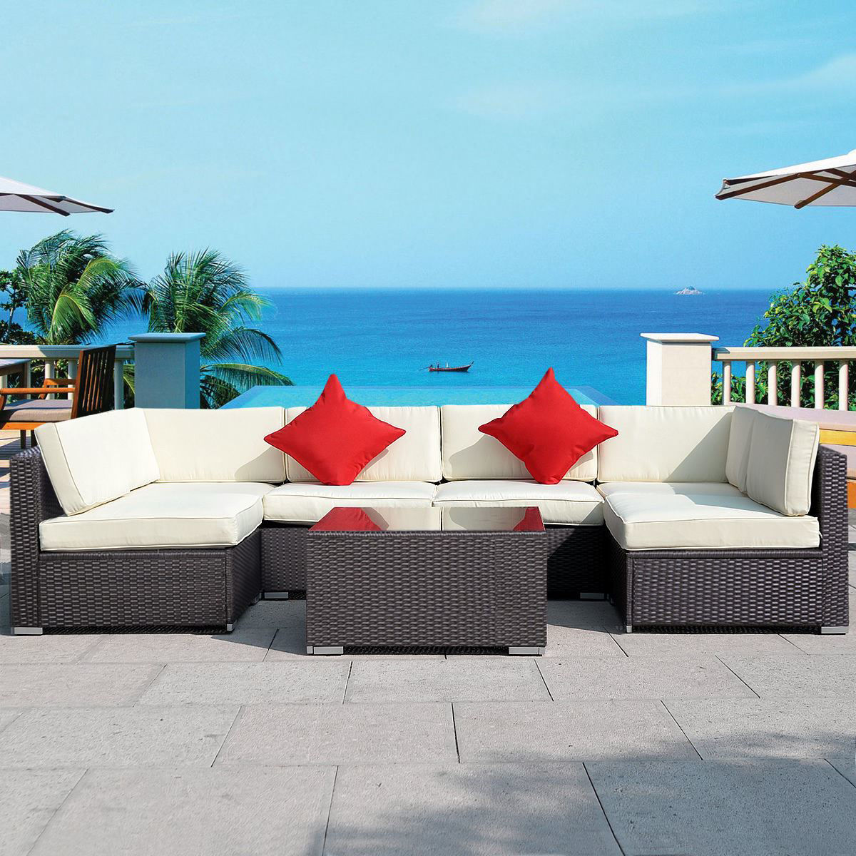 Picture of Outdoor Furniture Set Sectional Couch - 7 Pieces