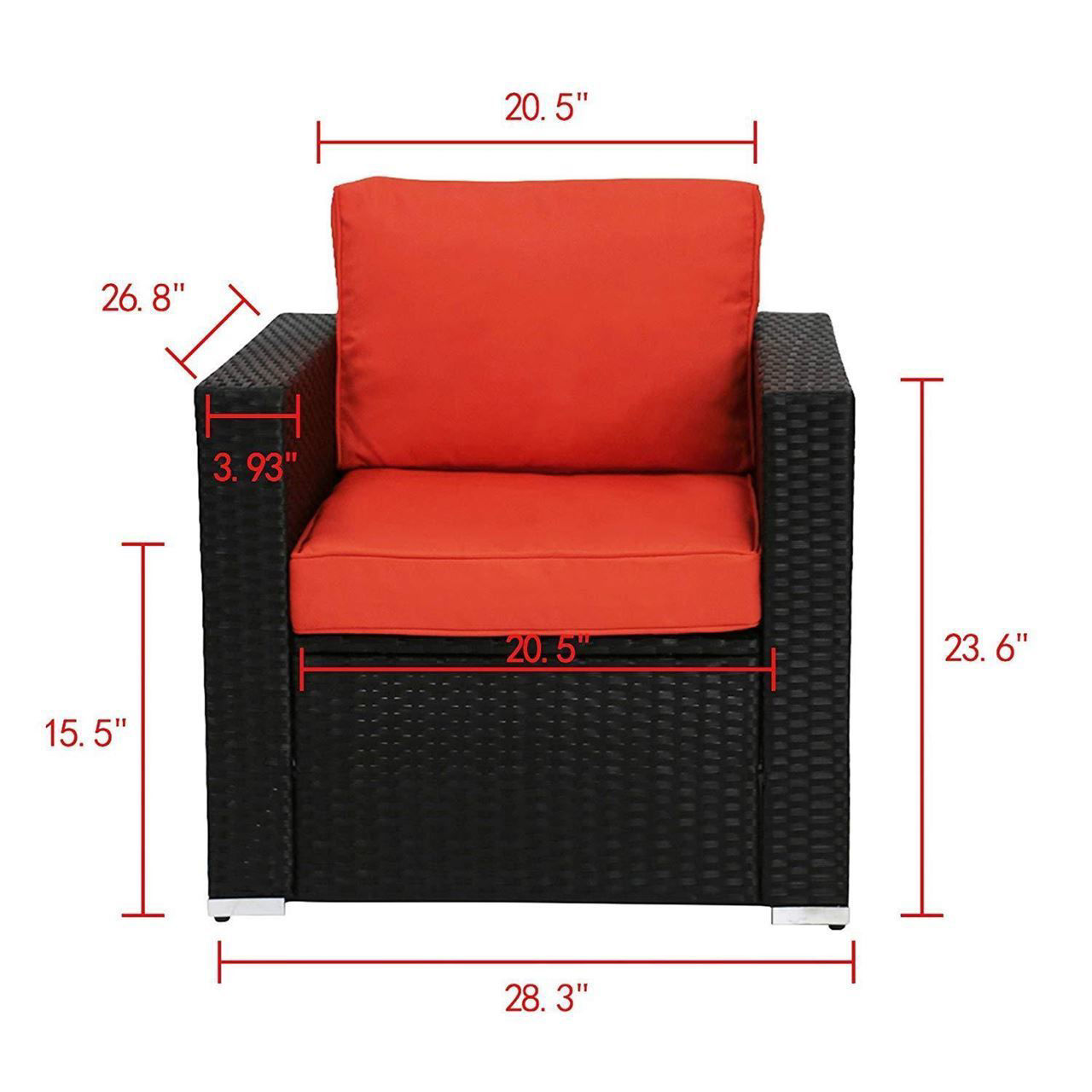 Picture of Outdoor Furniture Set with Orange Cushions - 4 pcs