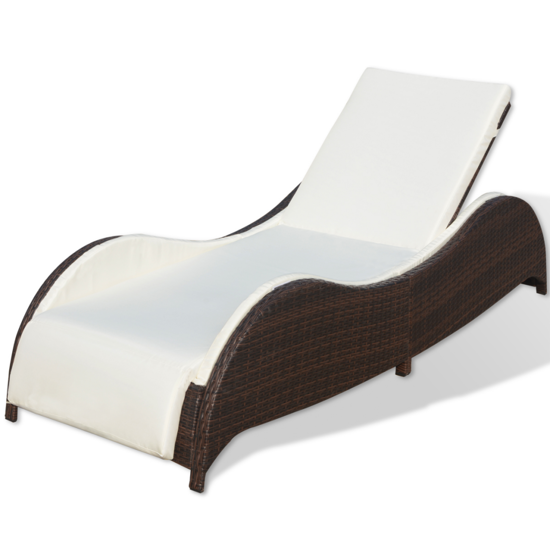 Picture of Outdoor Furniture Sofa Bed Sunlounger Poly Rattan - Brown