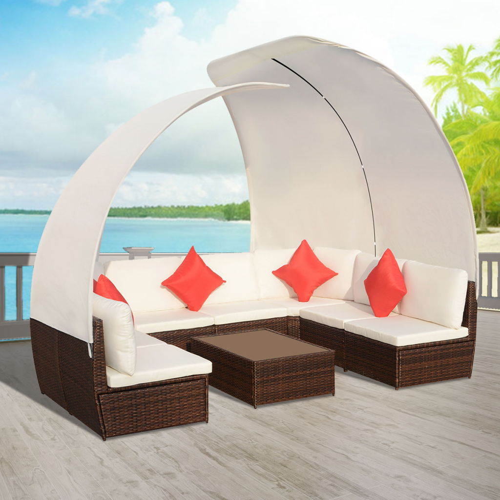 Picture of Outdoor Furniture Sofa Cushioned Lounge Set with Canopies Poly Rattan - Brown