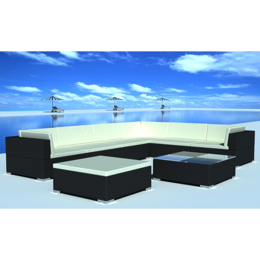 Picture of Outdoor Garden Furniture Lounge Set Wicker Poly Rattan - Black 8 Piece