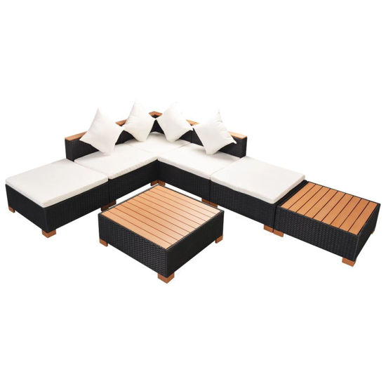 Picture of Outdoor Garden Lounge Set - Poly Rattan WPC Top - Black