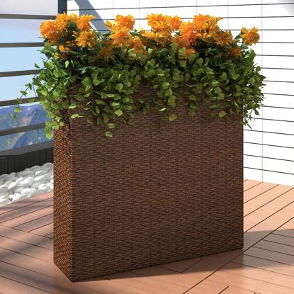 Picture of Outdoor Garden Rectangle Rattan Planter Set - Brown