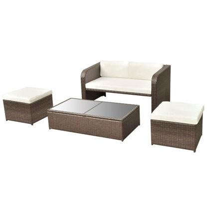 Picture of Outdoor Garden Sofa Set - Poly Rattan - Brown