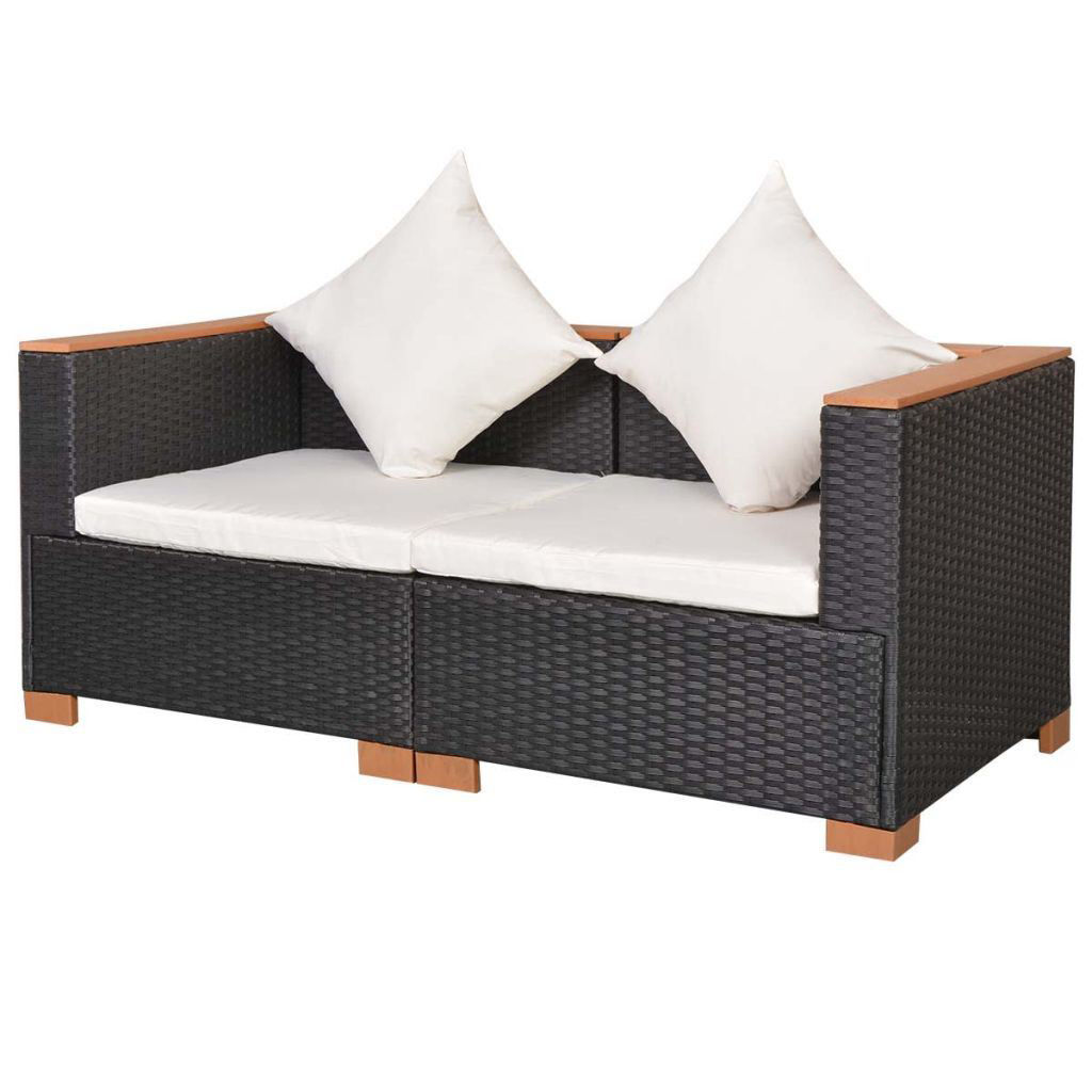 Picture of Outdoor Garden Sofa Set - Poly Rattan WPC Top - Black