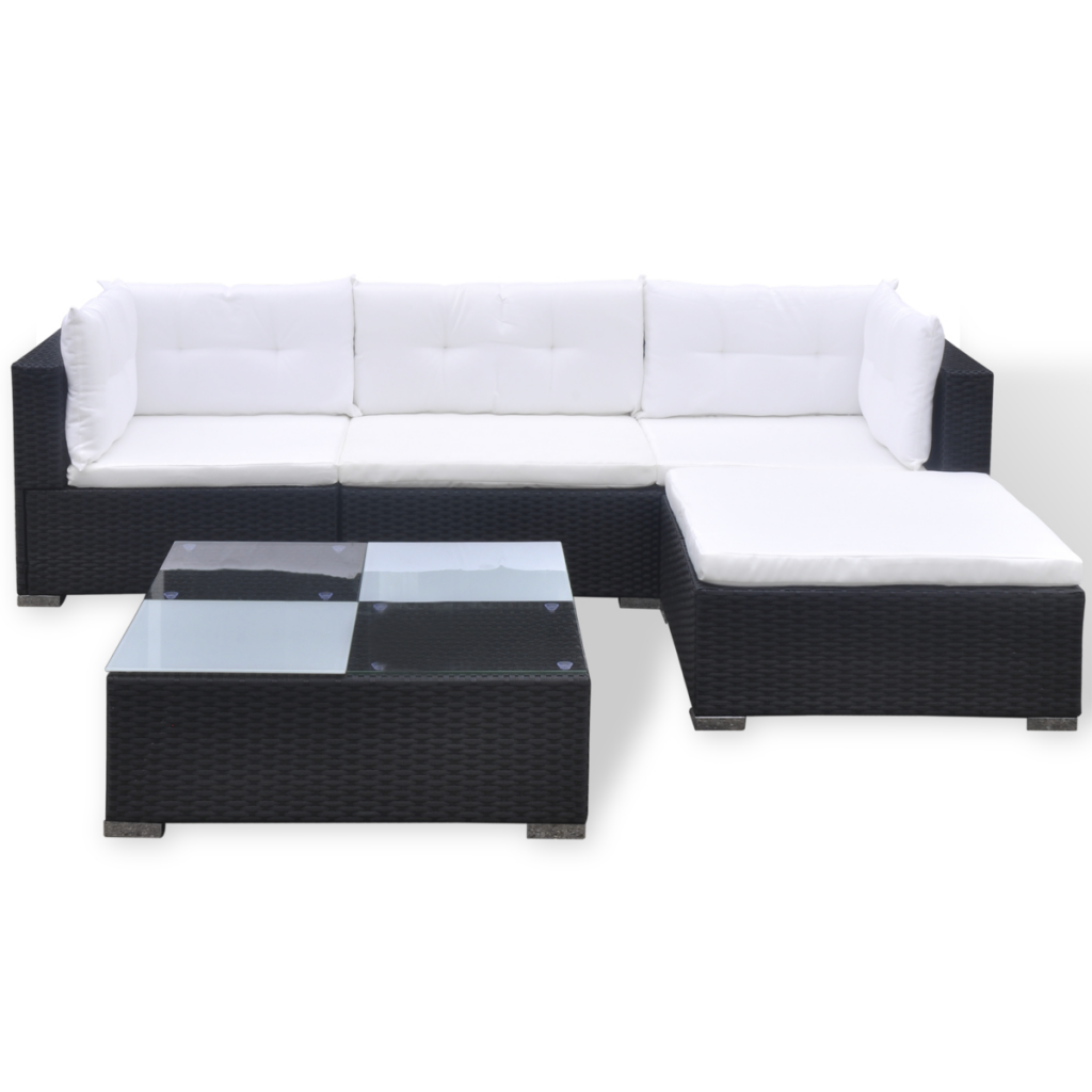 Picture of Outdoor Garden Sofa Set Black Poly Rattan - 14 Piece