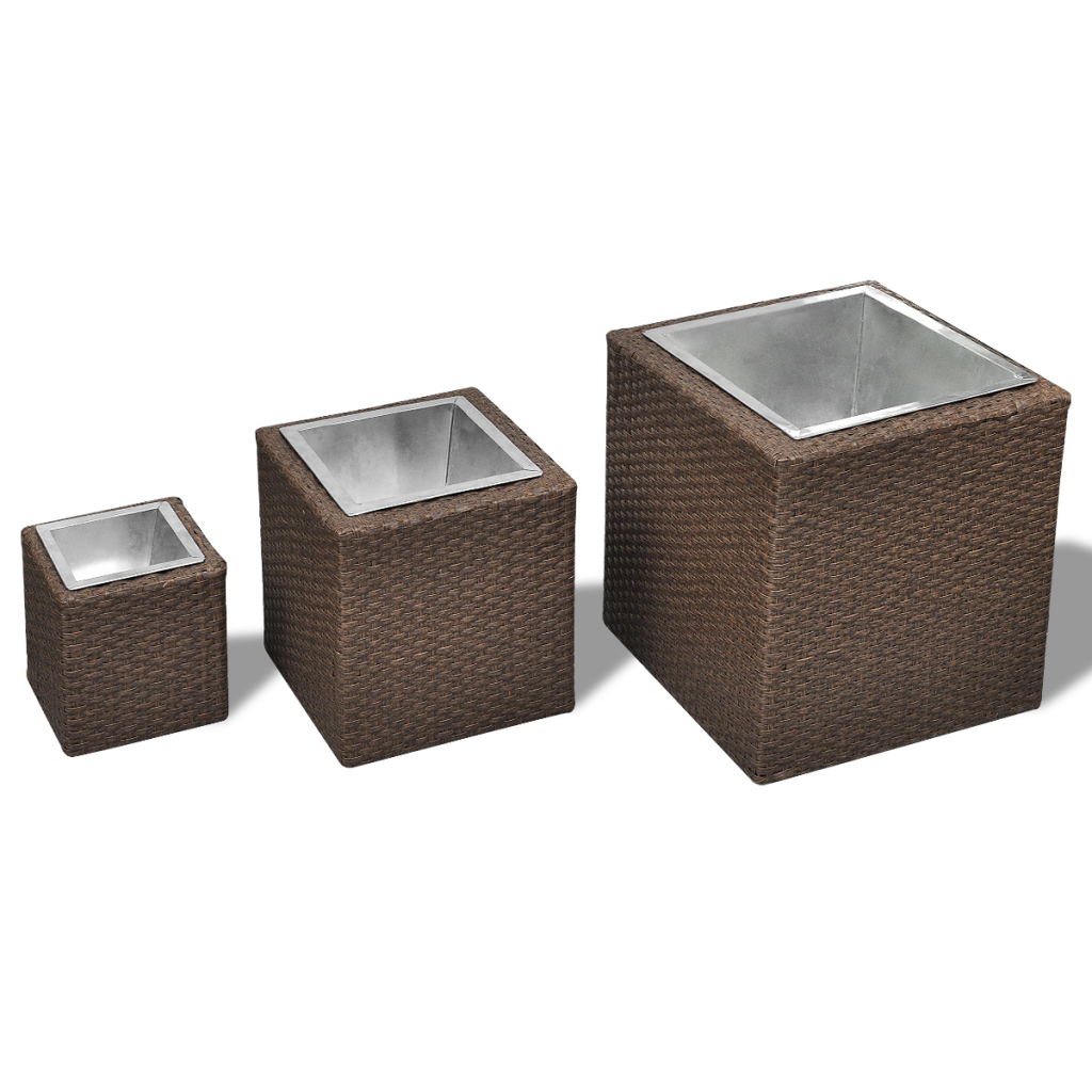 Picture of Outdoor Garden Square Rattan Planter Set 3 pcs - Brown