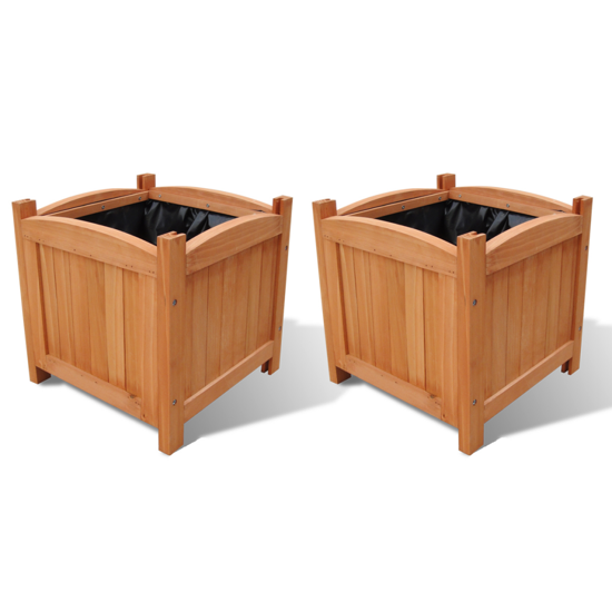 "Picture of Outdoor Garden Wooden Planters 11.8"" x 11.8"" x 11.8"" - 2 pcs"