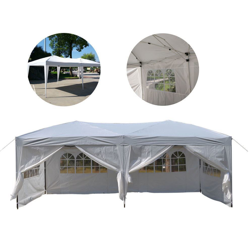 """Picture of Outdoor Gazebo Tent 10' x 20"""" Easy Pop Up with 6 Walls - White"""