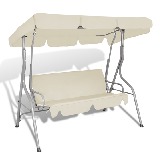 Picture of Outdoor 3-Person Swing Bench - Sand White