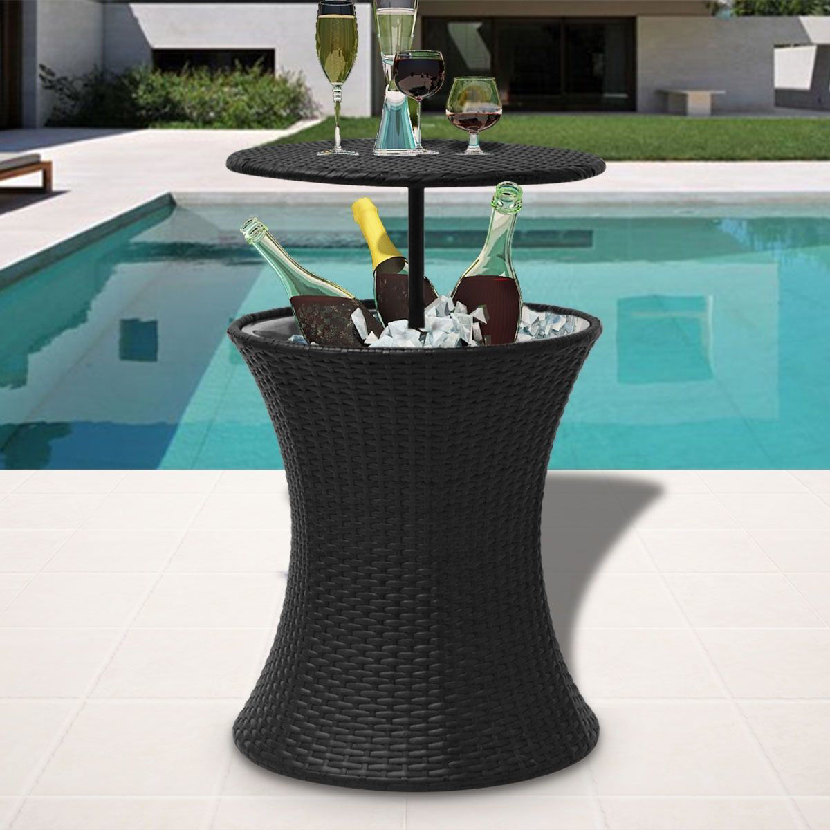 Picture of Outdoor Ice Cooler Bucket Table Poly Rattan - Black