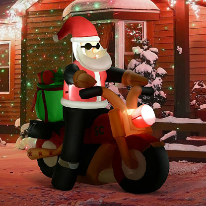 Picture of Outdoor Inflatable Christmas Santa Claus on Motorcycle 5 Ft