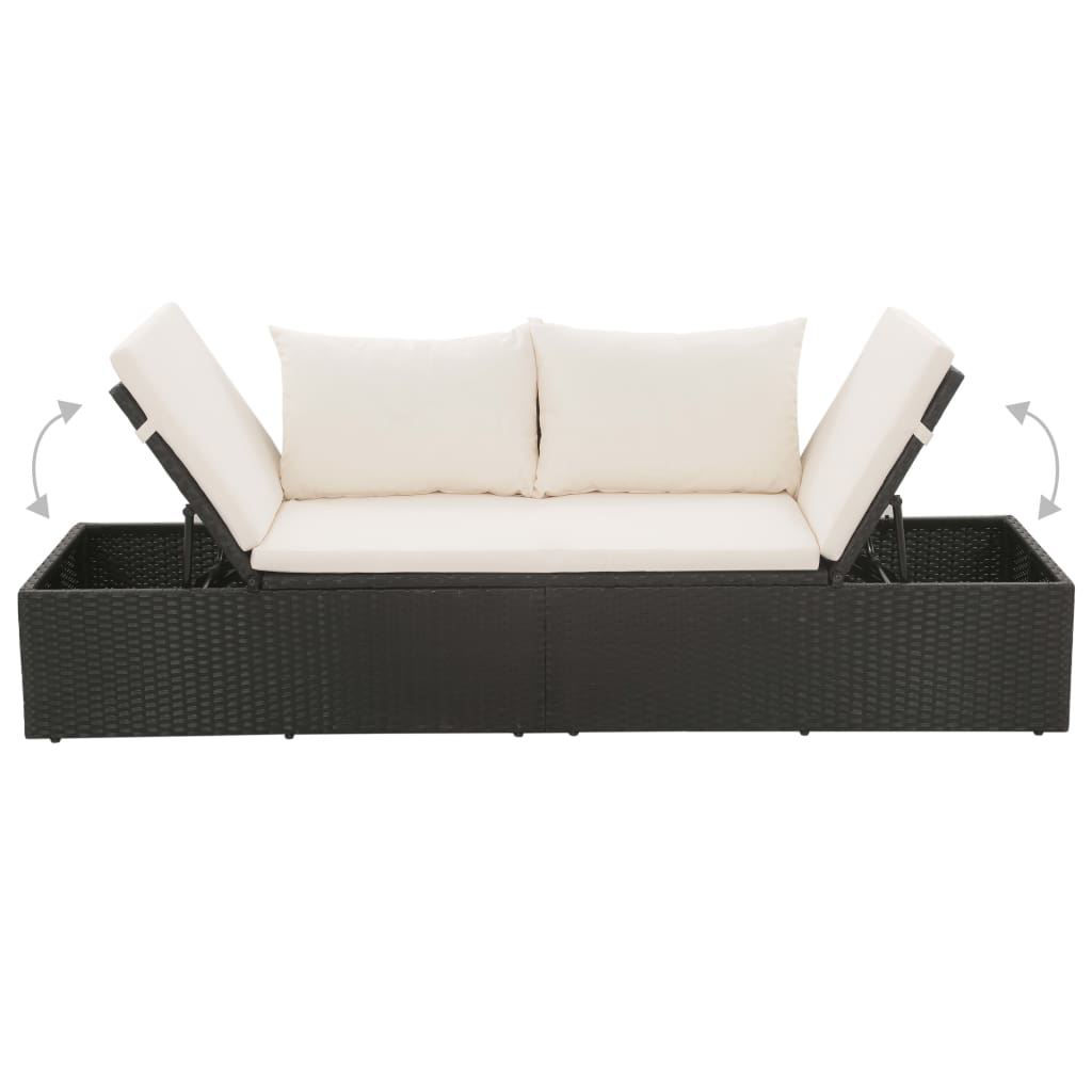"Picture of Outdoor Lounge Bed 76"" - Poly Rattan - Black"
