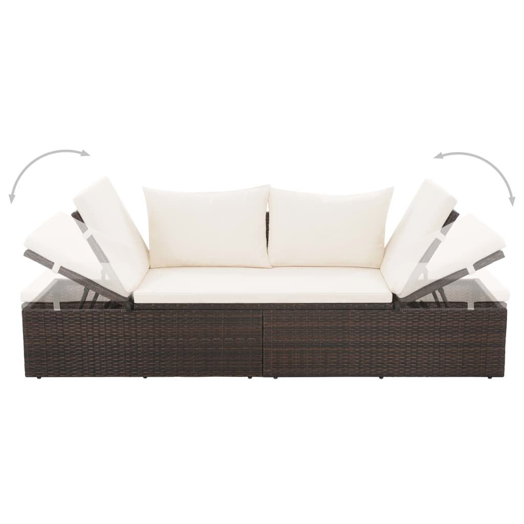 "Picture of Outdoor Lounge Bed 76"" - Poly Rattan - Brown"