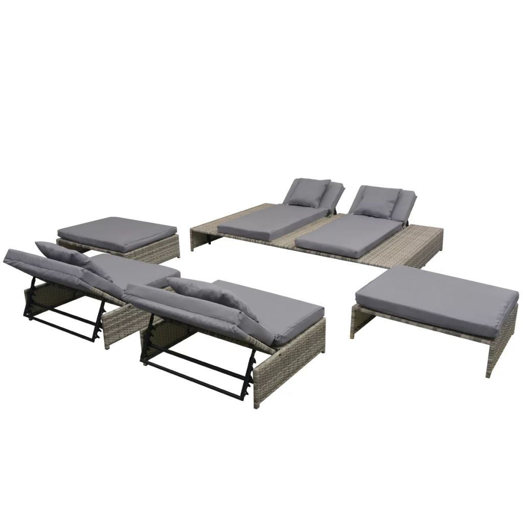 Picture of Outdoor Lounge Set - Poly Rattan - Gray
