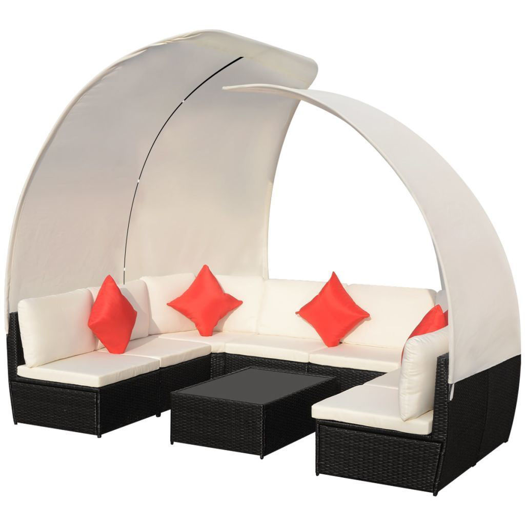 Picture of Outdoor Lounge Set with Canopies - Poly Rattan - Black