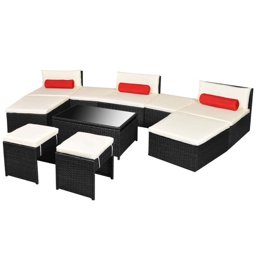 Picture of Outdoor Modular Garden Lounge Set - Poly Rattan - Black