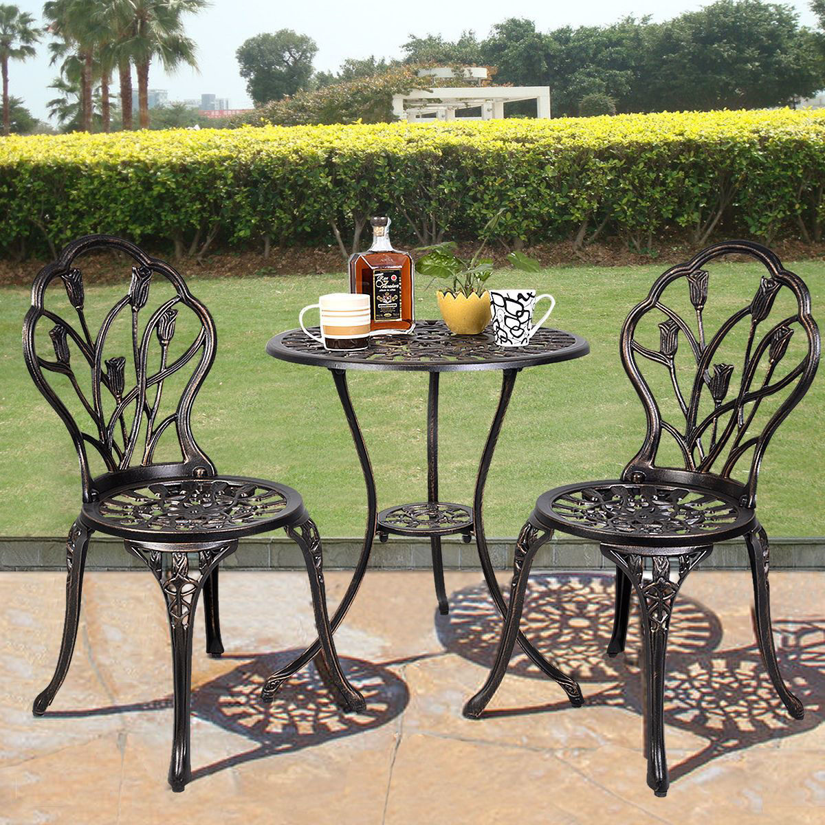 Picture of Outdoor Patio Bistro Set Tulip Design in Antique Copper