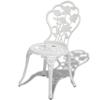 Picture of Outdoor Patio Furniture Bistro Set Antique Rose Design Cast Aluminum - White