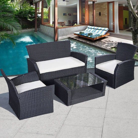Picture of Outdoor Patio Furniture Set - 4 pcs Black