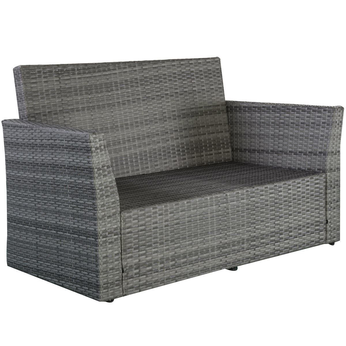 Picture of Outdoor Patio Furniture Set Wicker Rattan - 4 Pcs Gray