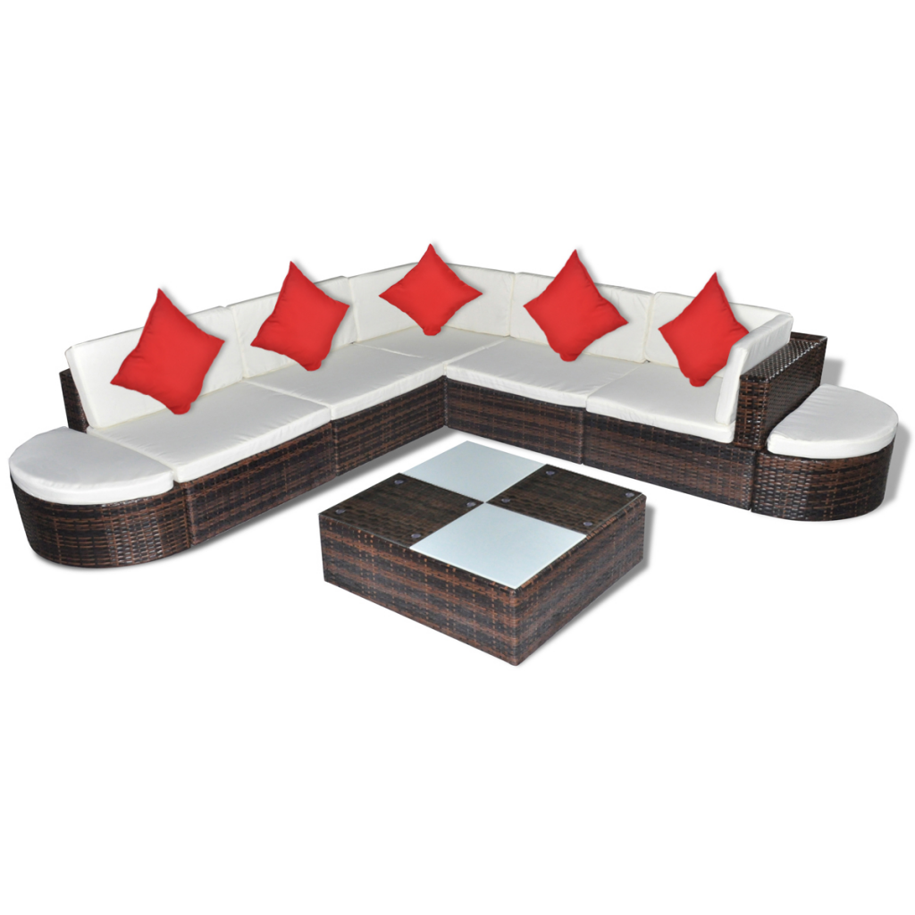 Picture of Outdoor Patio Garden Furniture Lounge Seat Set Poly PE Wicker Rattan - 8 pcs