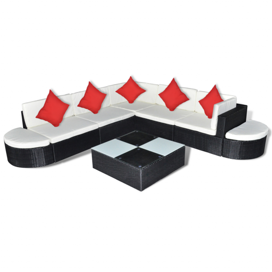 Picture of Outdoor Patio Garden Furniture Lounge Seat Set Poly Rattan - Black 8 pcs