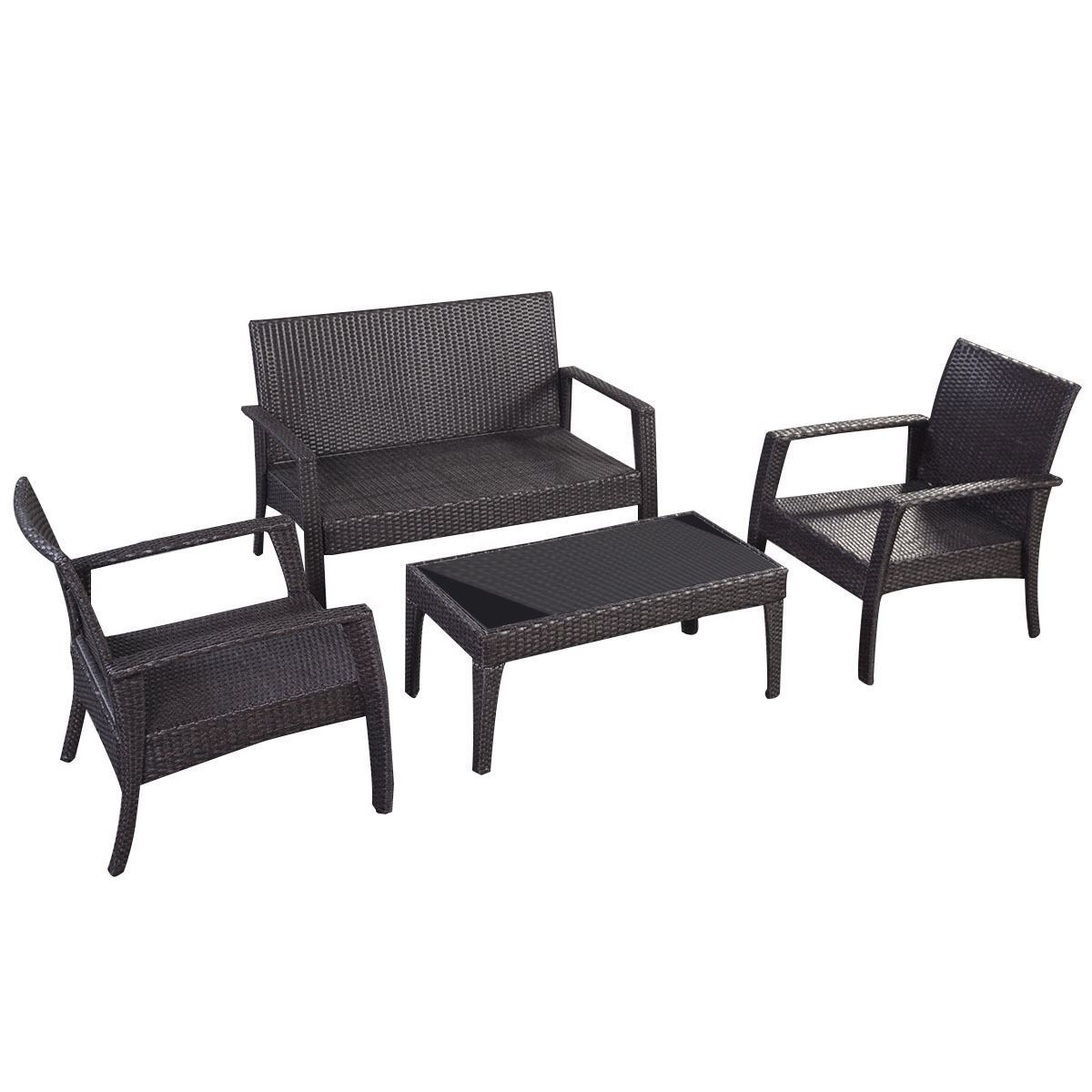 Picture of Outdoor Patio Rattan Furniture Set - 4 Pcs