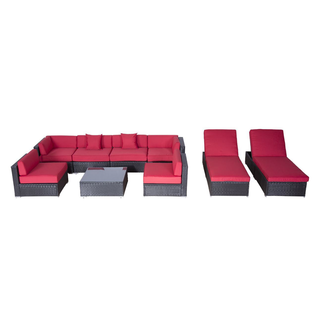 Picture of Outdoor Patio Rattan Wicker Sofa Sectional & Chaise Lounge Furniture Set - Crimson 9 pcs