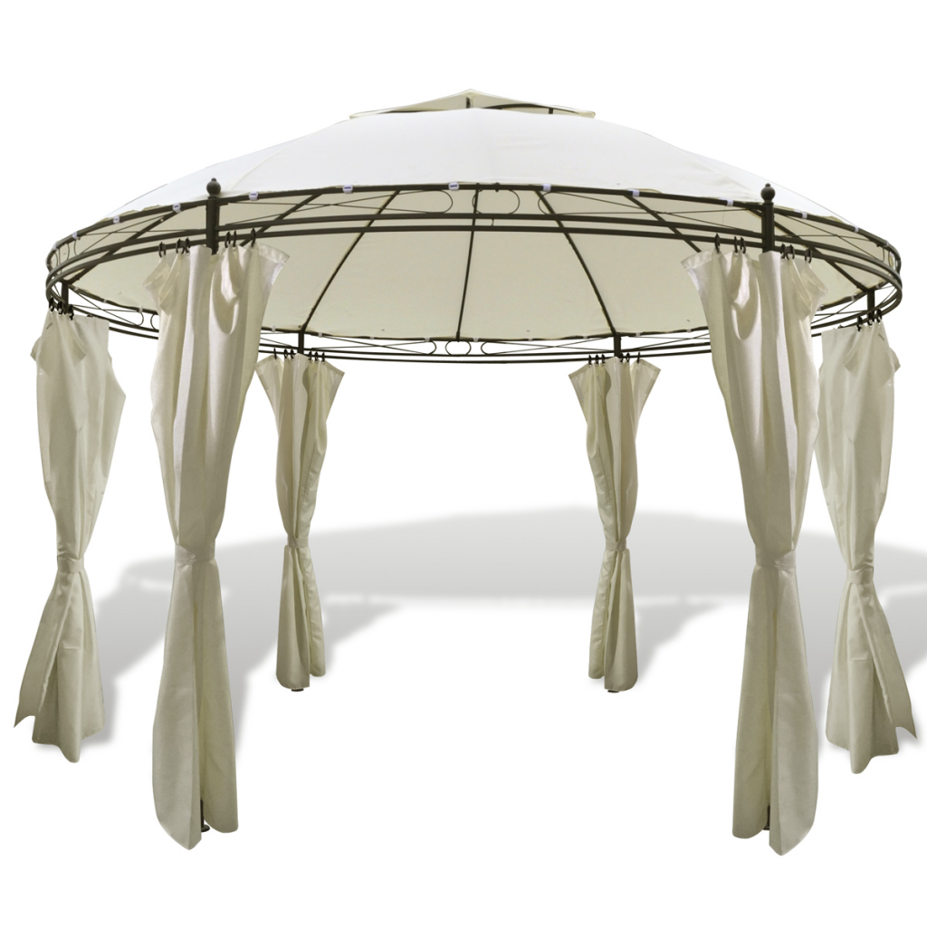 Picture of Outdoor Patio Round Gazebo with Curtains 12' x 9' - Cream White