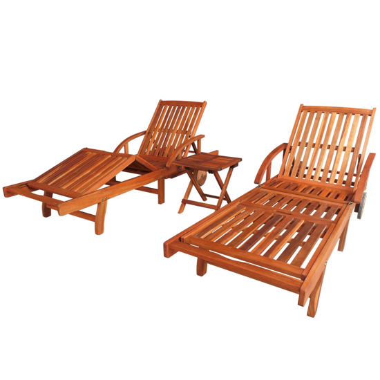 Picture of Outdoor Patio Sun Lounger Set Acacia - Wood 3 pcs