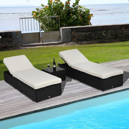 Picture of Outdoor Patio Loungers with Side Table - 3 Pcs