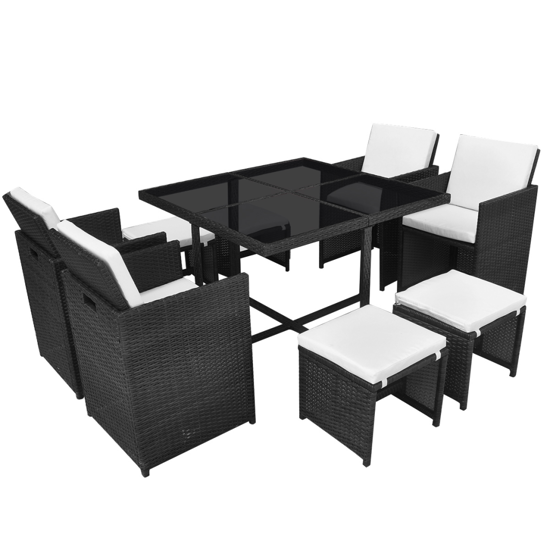 Picture of Outdoor Poly Rattan Dining Set - Black 21 Piece