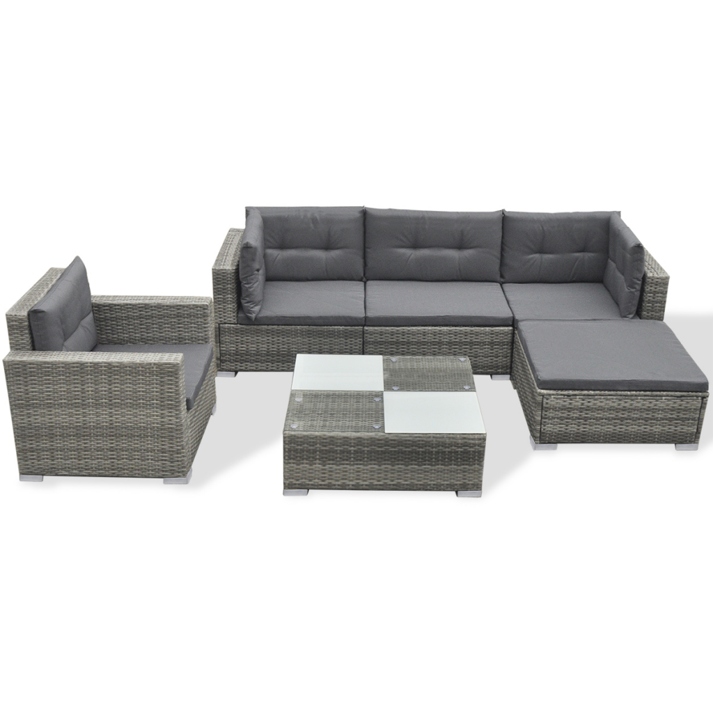 Picture of Outdoor Poly Rattan Garden Sofa Set  - Gray 17 Piece