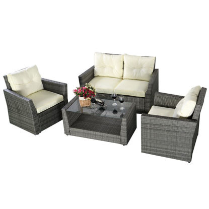 Picture of Outdoor Wicker Rattan Patio Furniture Set Cushioned Gradient - 4 Pieces