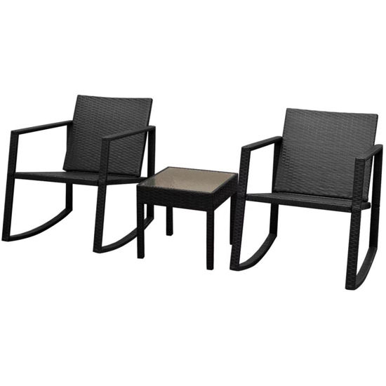 Picture of Outdoor Rocking Chair and Table Set - Black 3pc