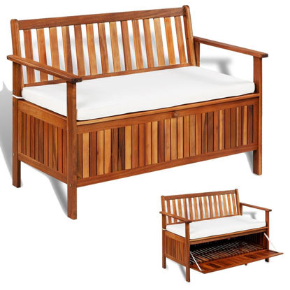 "Picture of Outdoor Storage Bench - 47"" Solid Acacia Wood"