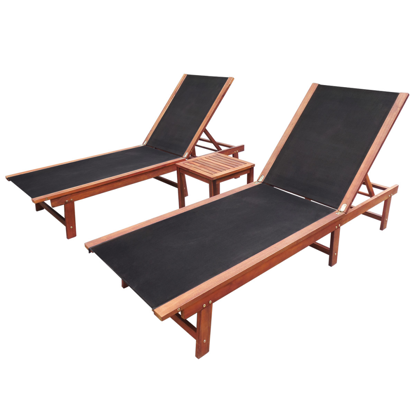 Picture of Outdoor Wood Sun Lounger Set Acacia - 3 pc