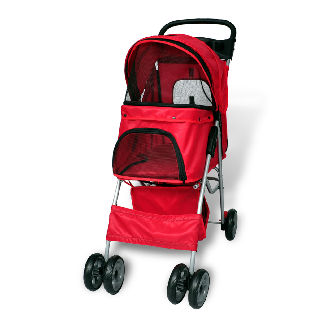Picture of Pet Cat Dog Stroller Travel Carrier Folding - Red