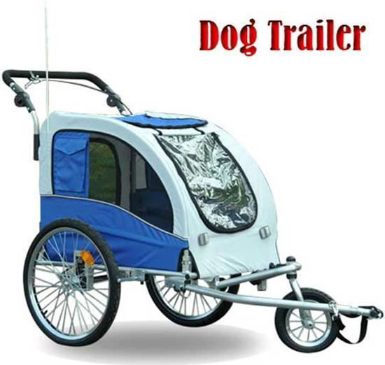 Picture of Pet Dog Stroller Bike Trailer with Suspension - Blue