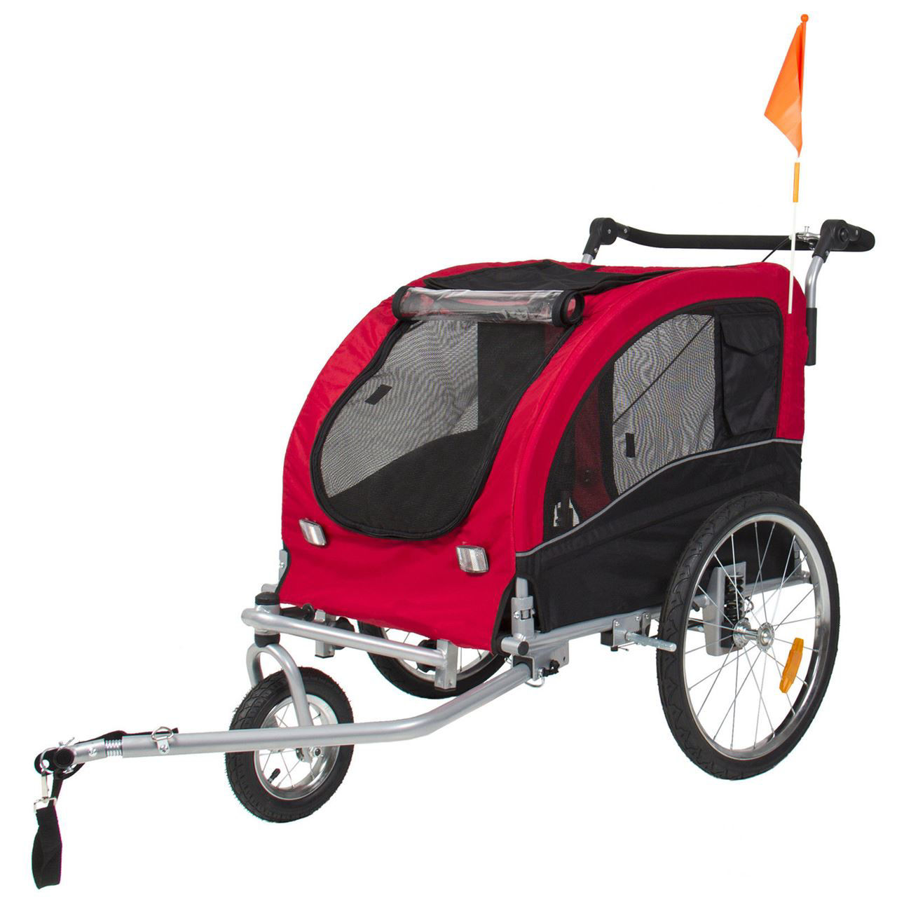 Picture of Pet Dog Stroller Jogging with Suspension 2 in 1 - Red