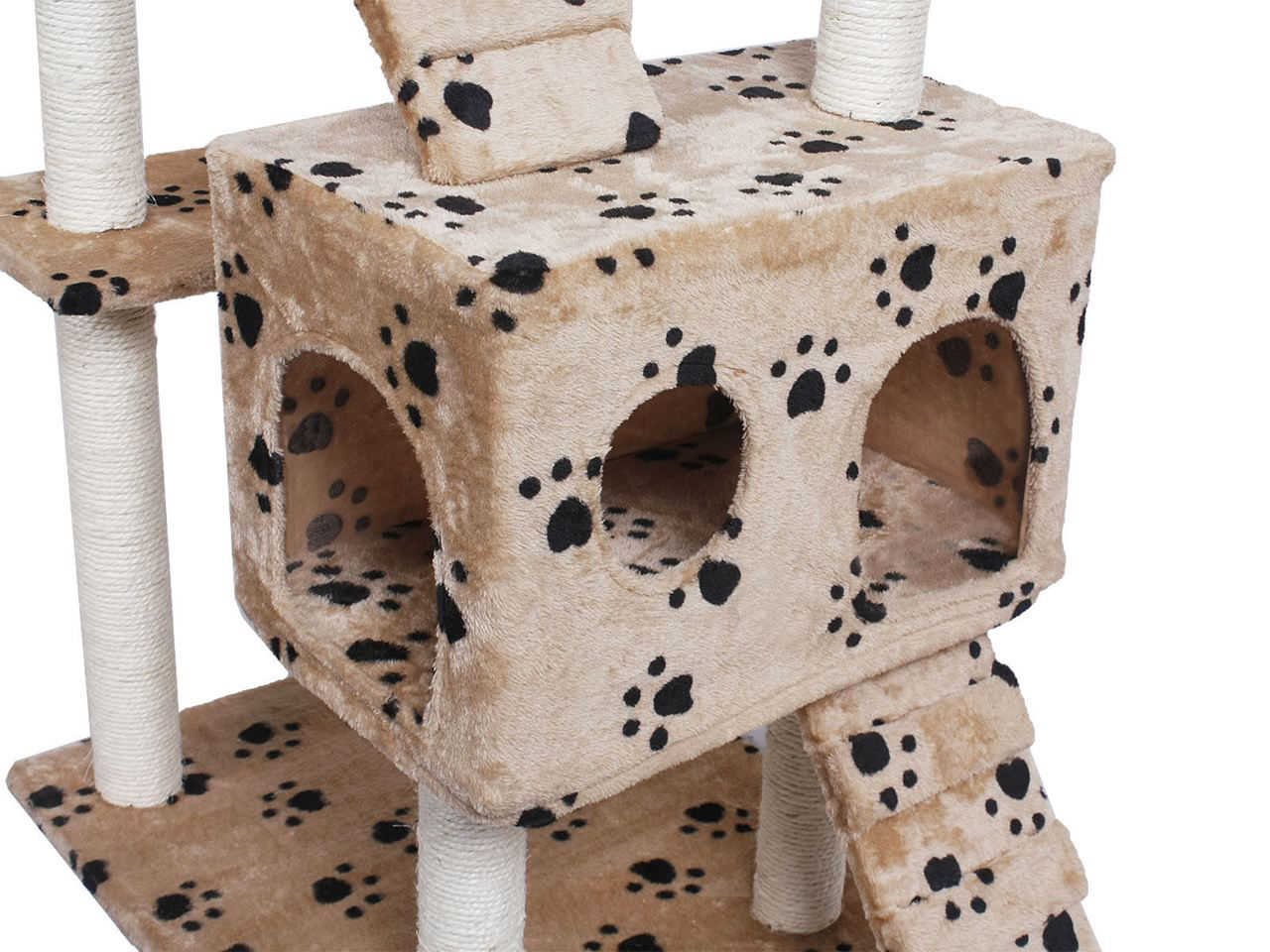 """Picture of Pet House Cat Tree Condo Furniture Scratch Paws 73"""" Beige"""