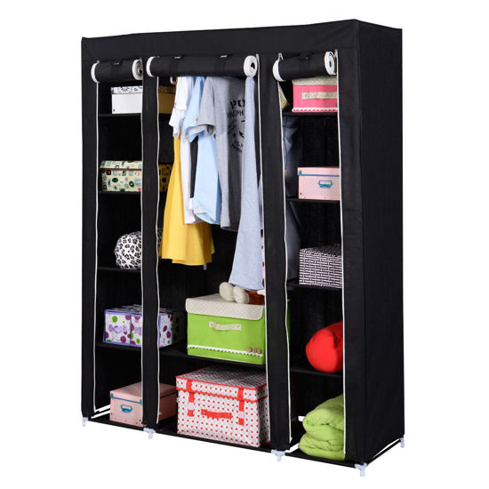 Picture of Portable Clothes Shoes Storage - Black